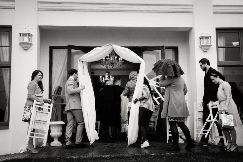 rainy wedding relocated