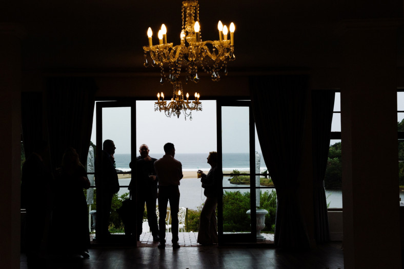 chandelier with beach view