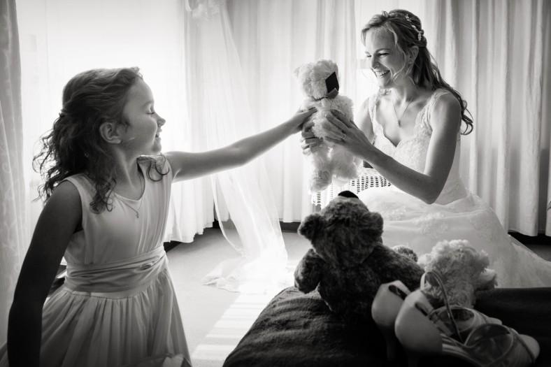 bride with teddy bears