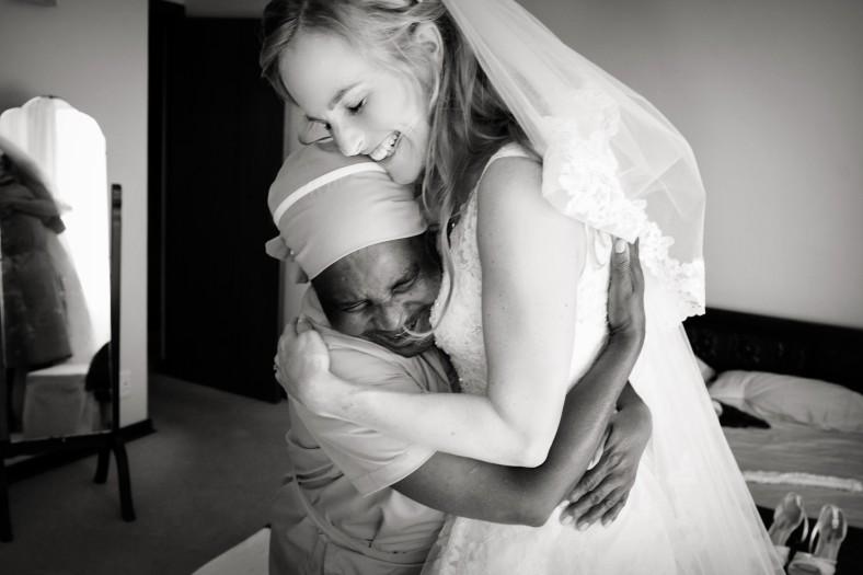 bride hugging maid