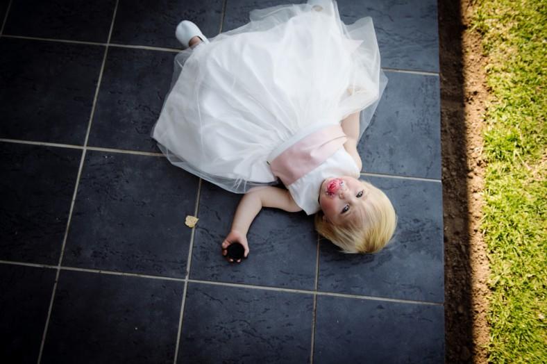 flower girl sleeping on floor