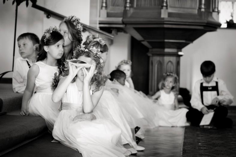bored children at church wedding
