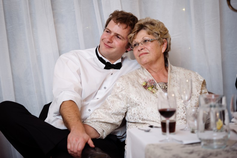 mom and son at wedding