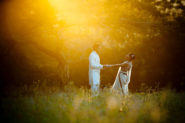 Hindu Newly Weds at sunset Dancing