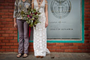 Lesbian brides with big bouquet