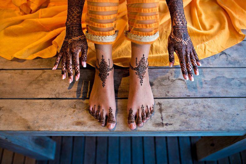 Hindu Bride at Mehndi ceremony.