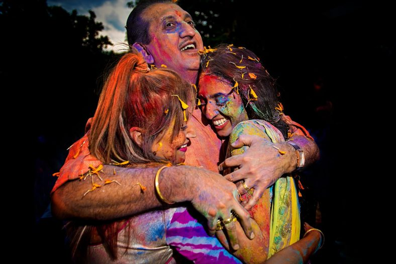Documentary photography at holi fight celebration.