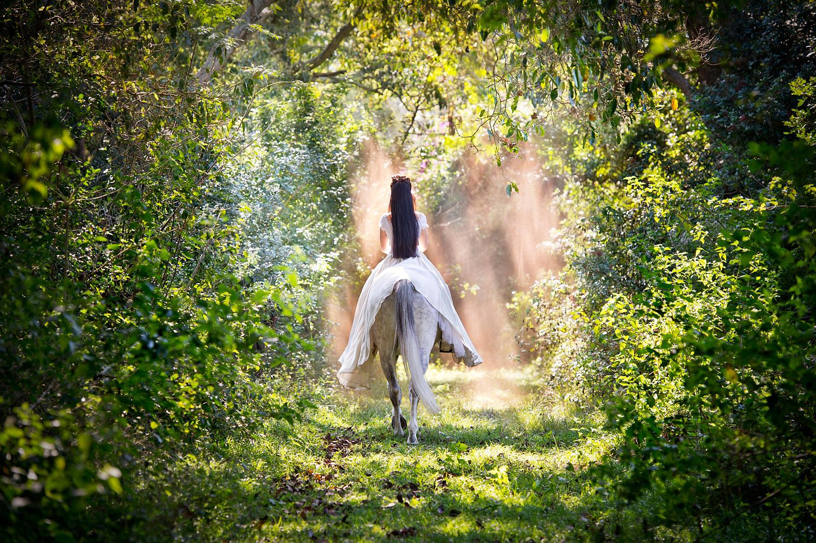 Girl riding away on a horse