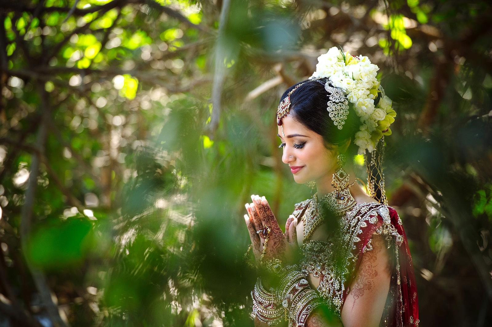 Indian bride praying