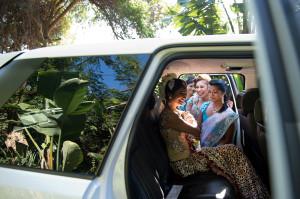 Indian bride in car