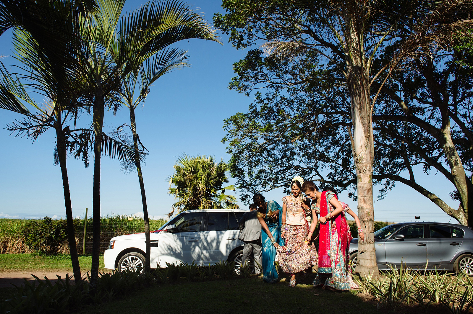 Indian bride leaving car