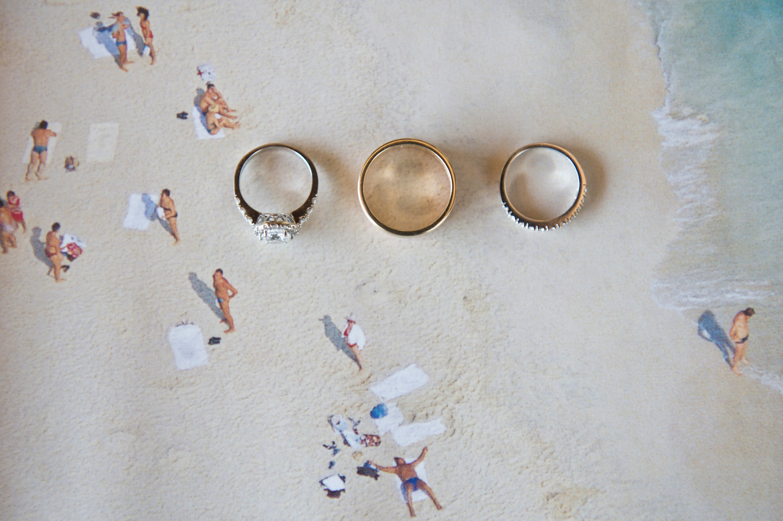 Beach side wedding rings