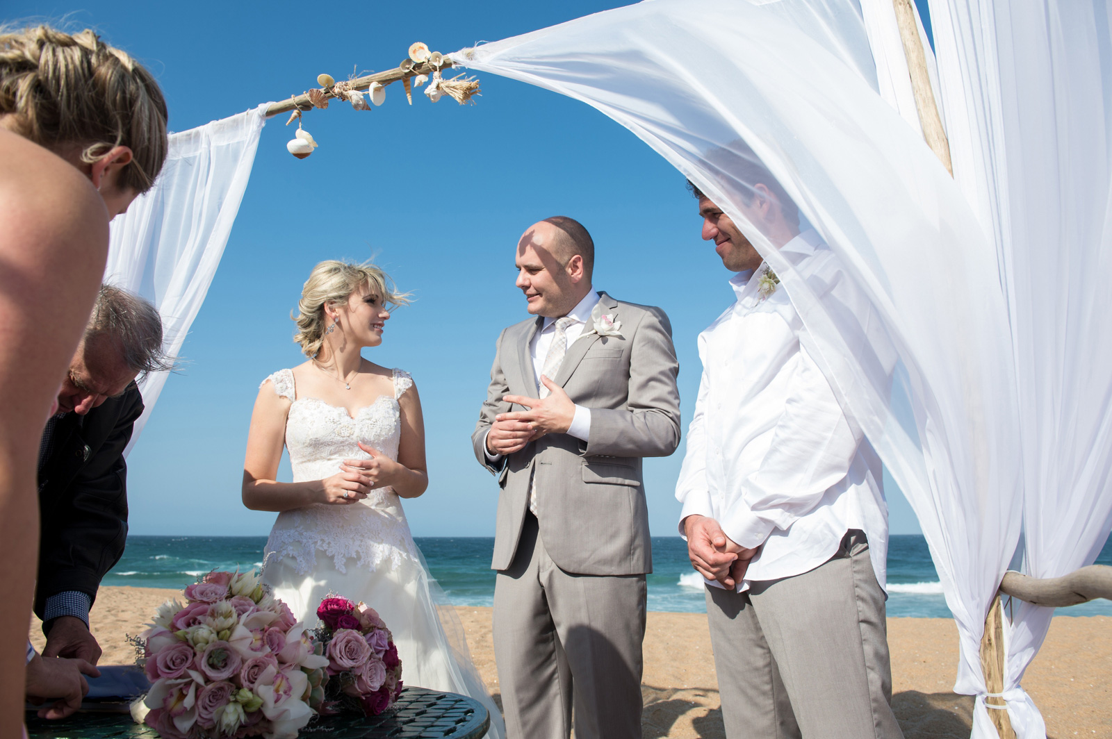 just married on the beach