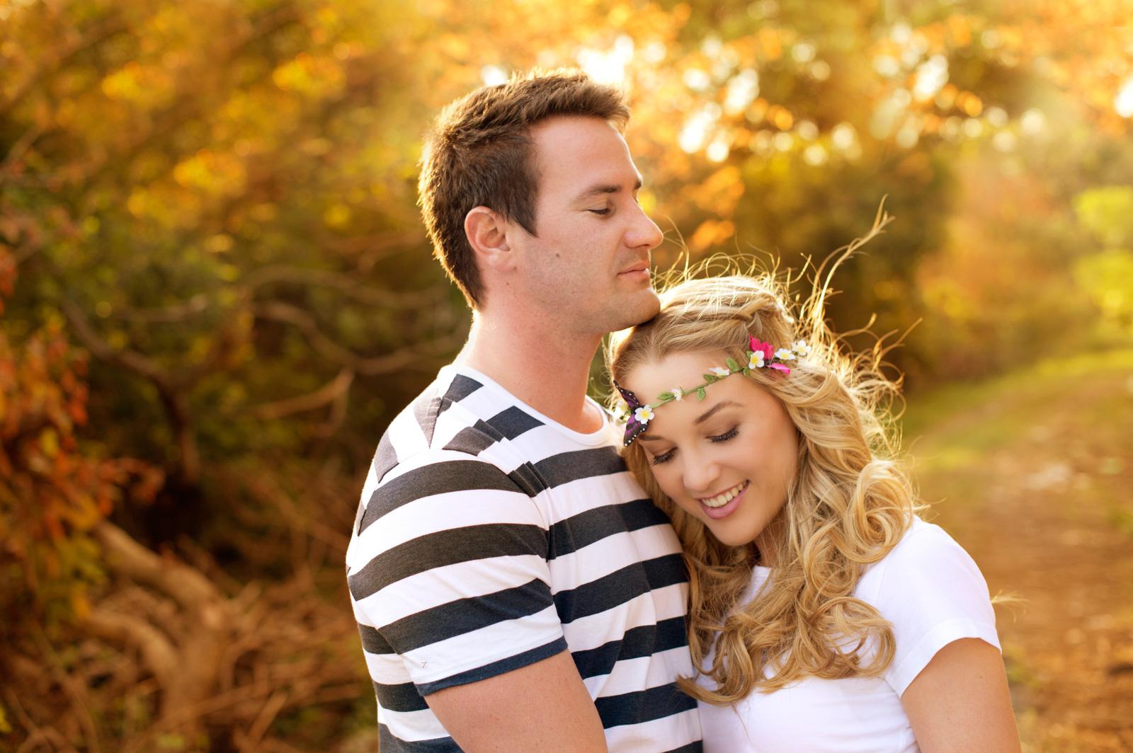 Engagement shoot in golden light
