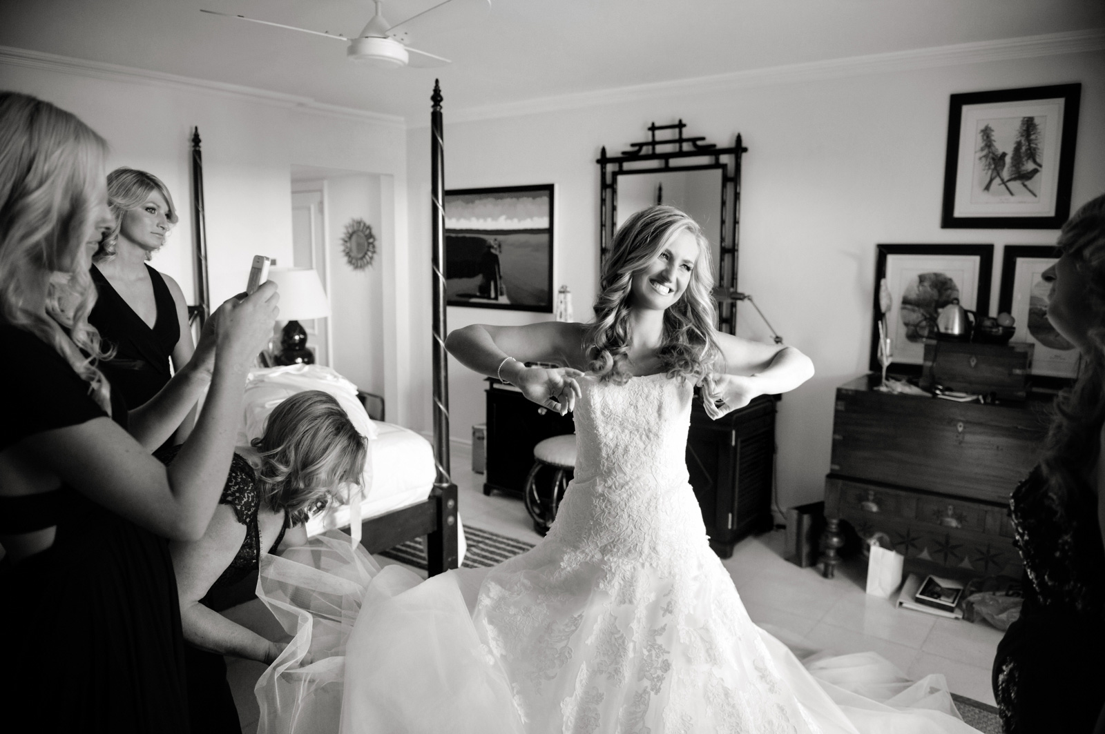 Bride getting into dress Wedding at the Oyster Box Hotel Durban South Africa