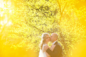 Bride and Groom in yellow flowers
