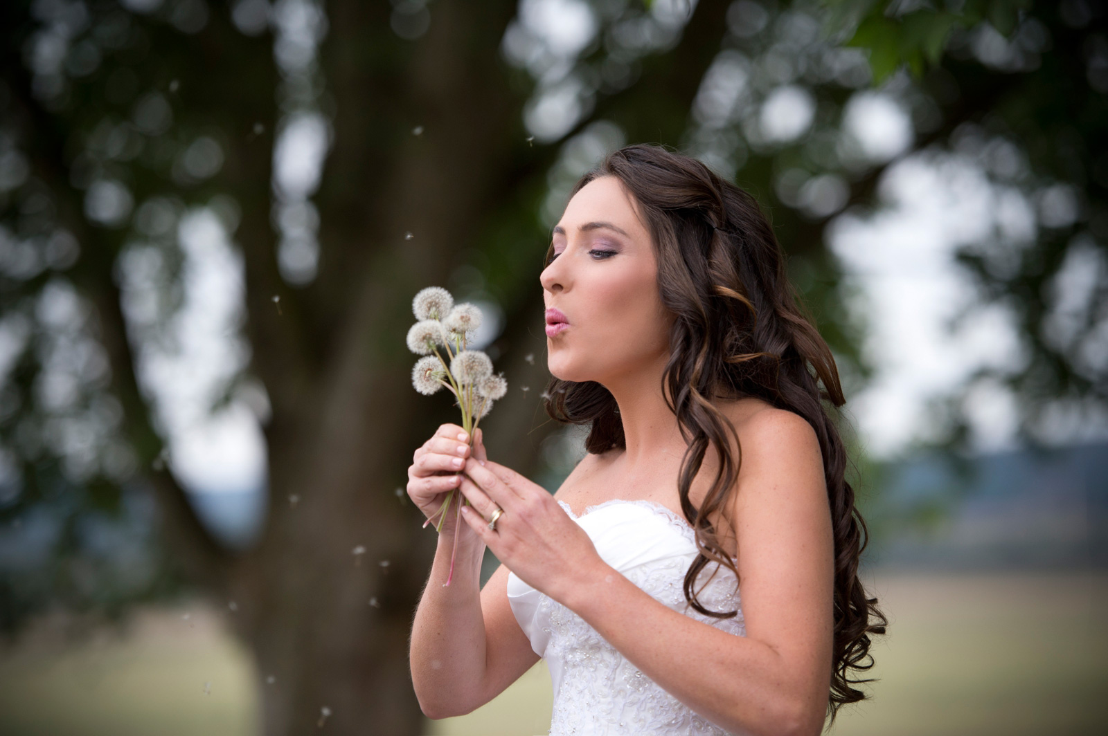 bride blowing dandelions