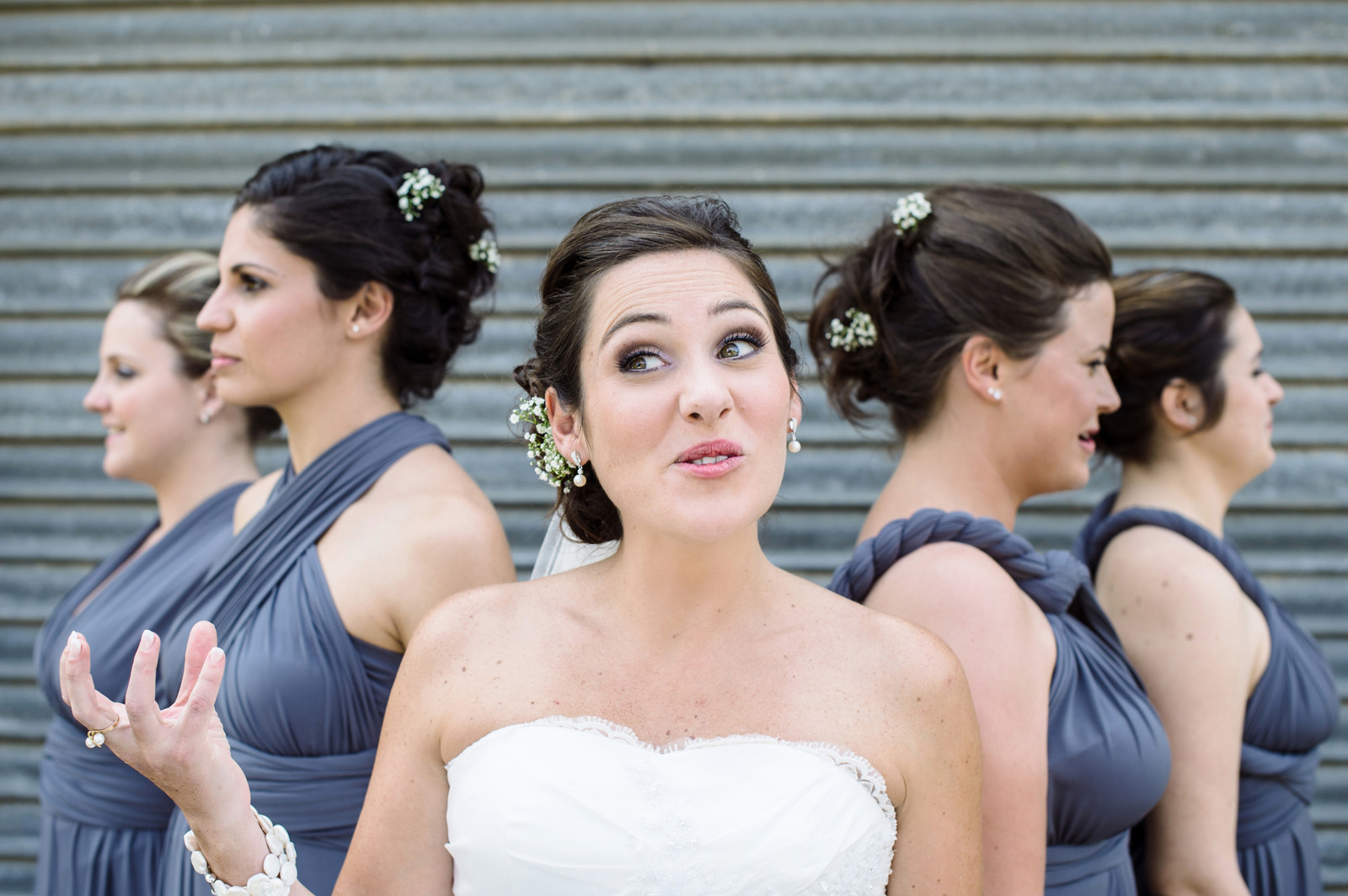 bride pulling a face