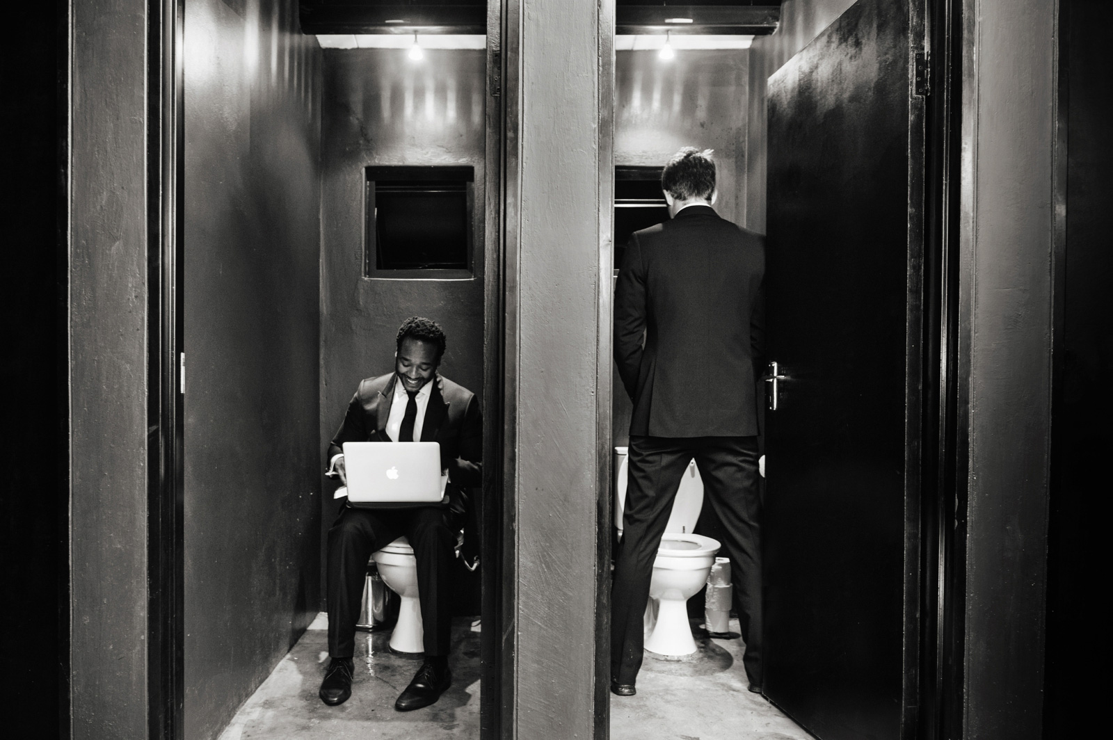 groom writing vows in the toilet