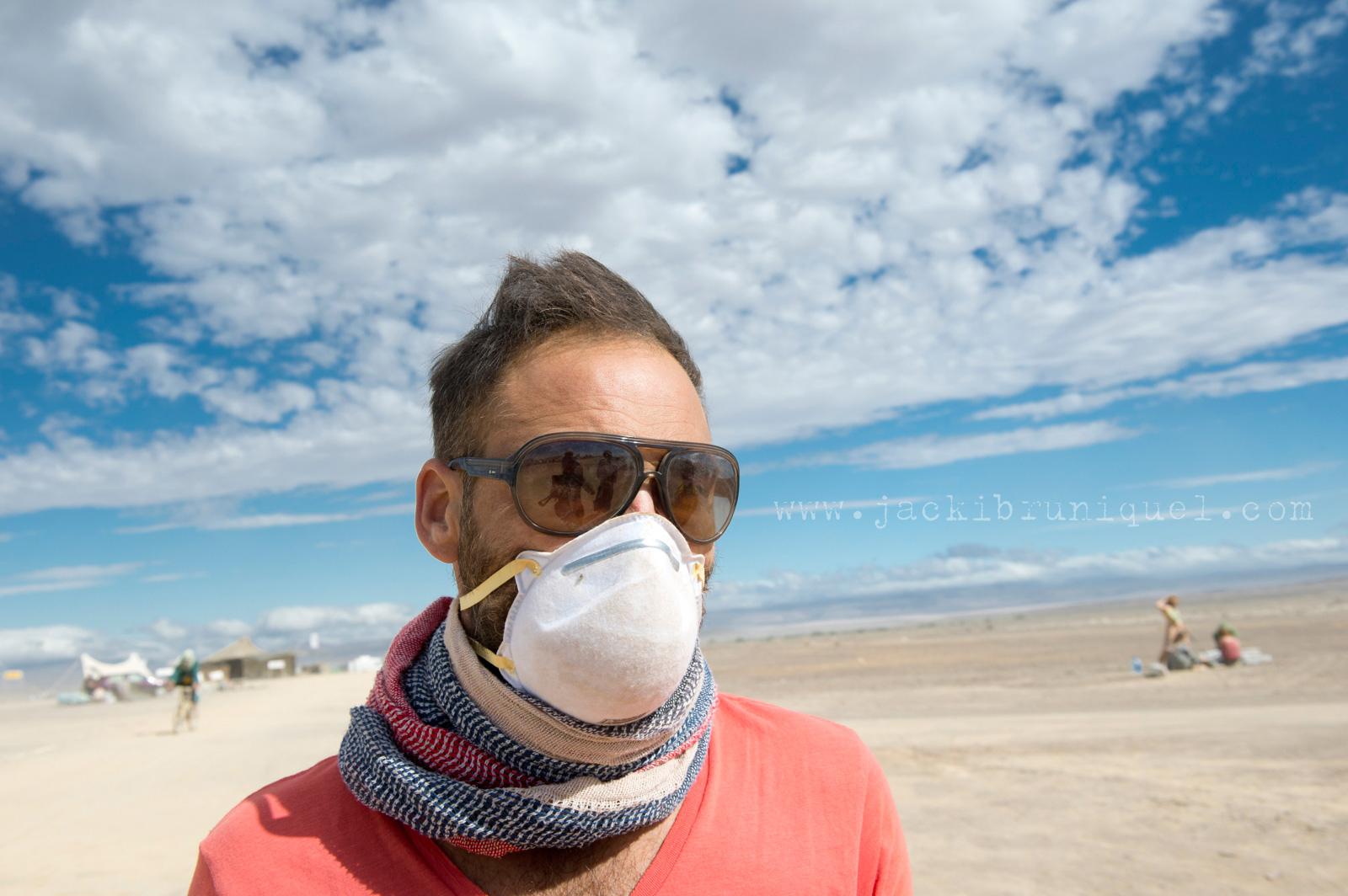 Man with dust mask Afrika Burn
