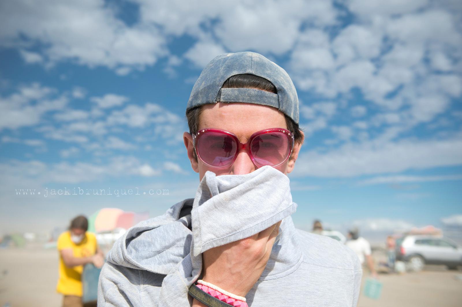 Man in dust storm at afrika Burn
