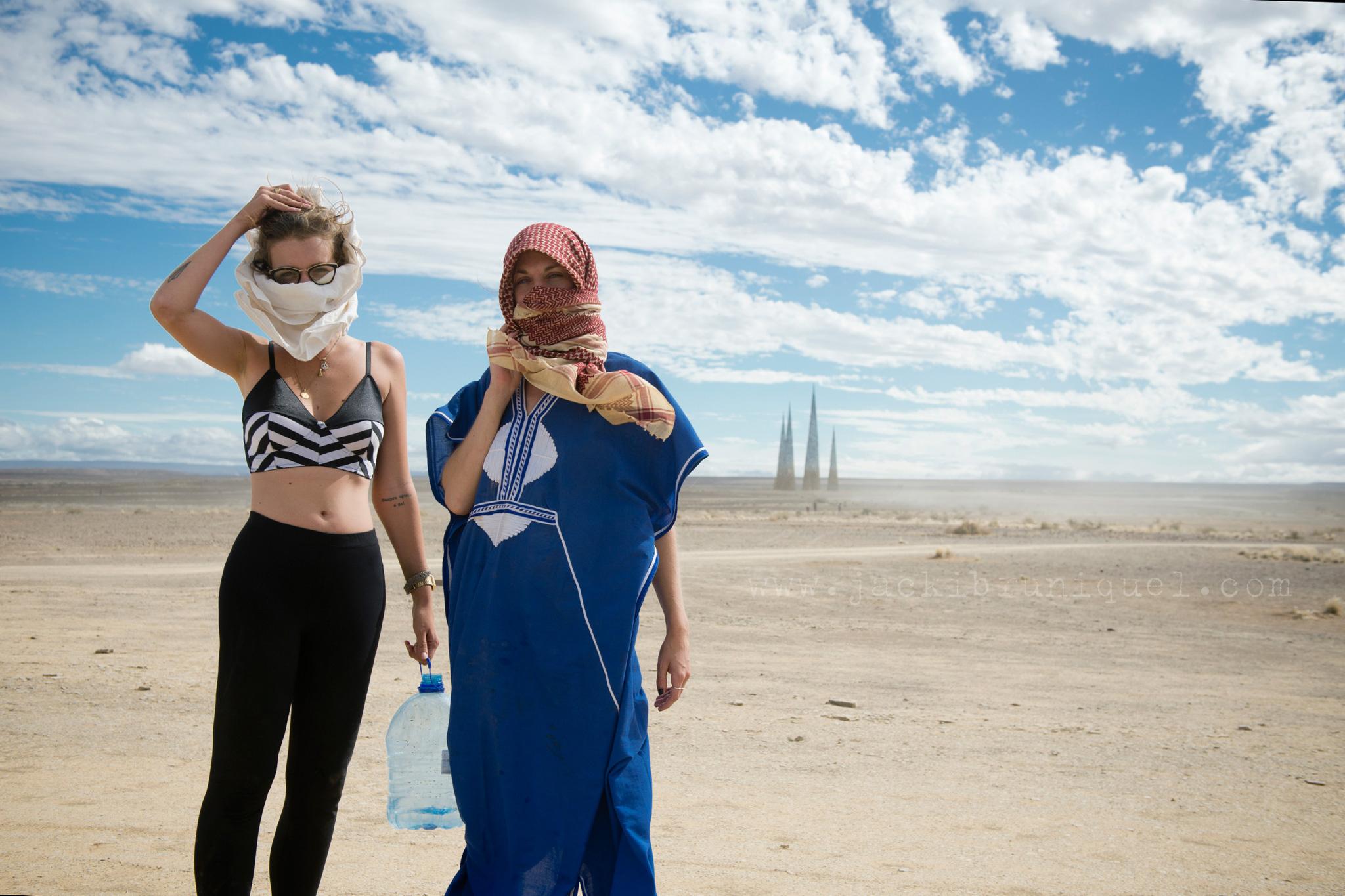 Girls in Dust Storm at Afrika Burn