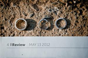 Wedding rings on a wedding invitation