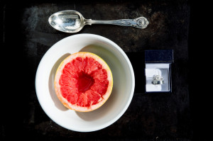 Wedding rings with grapefruit