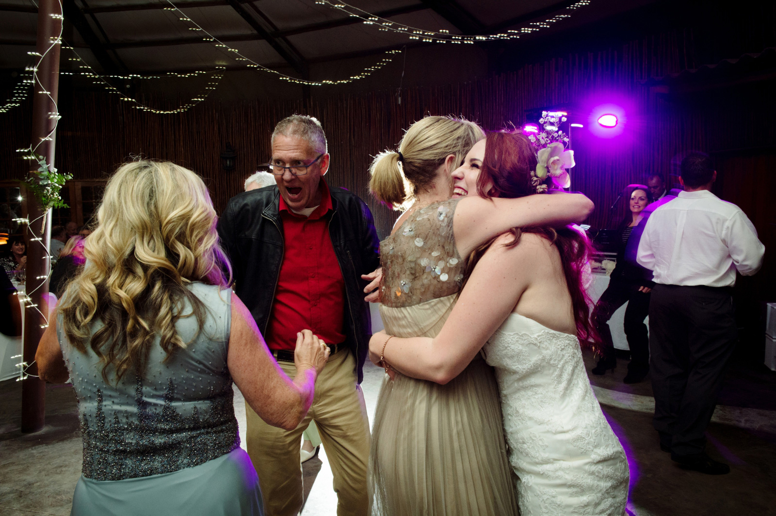 bride and guests at wedding