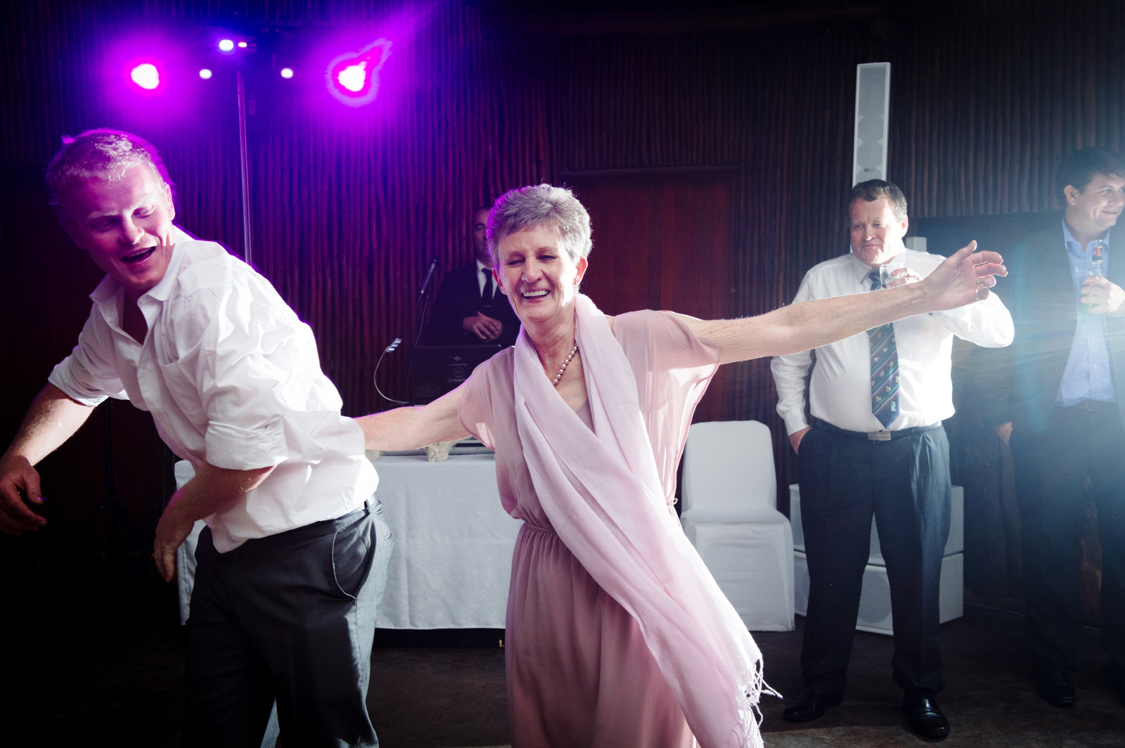 guests dancing at wedding