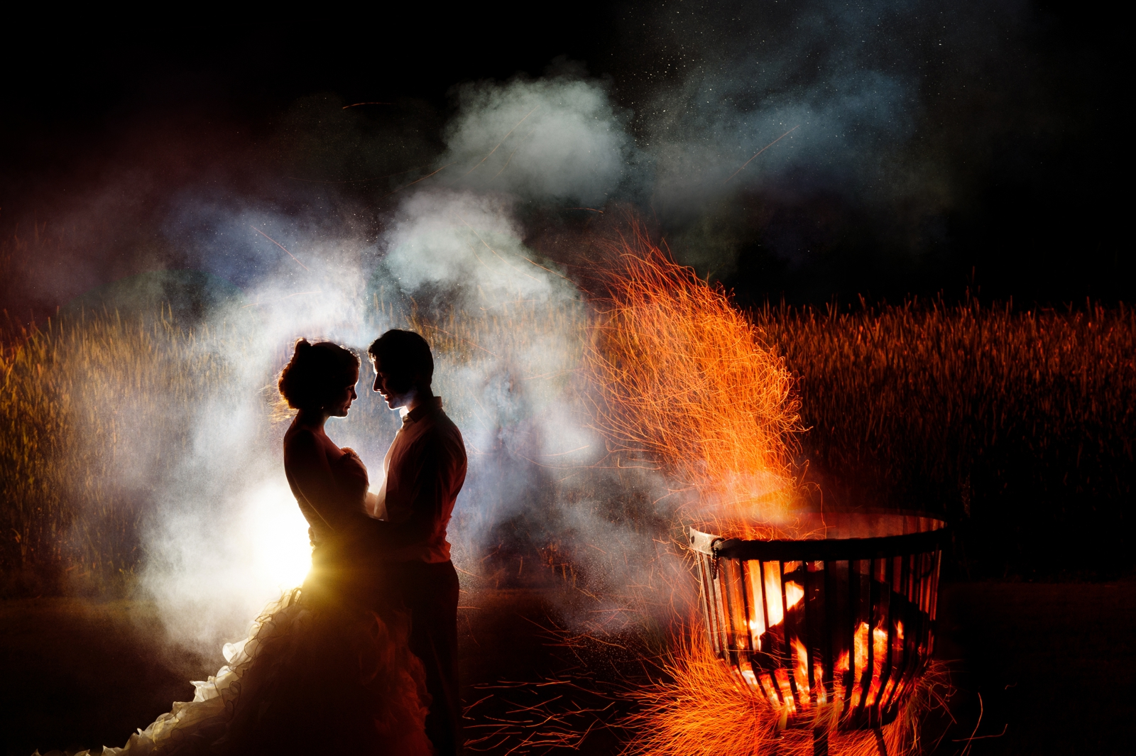 Bride and Groom with Fire