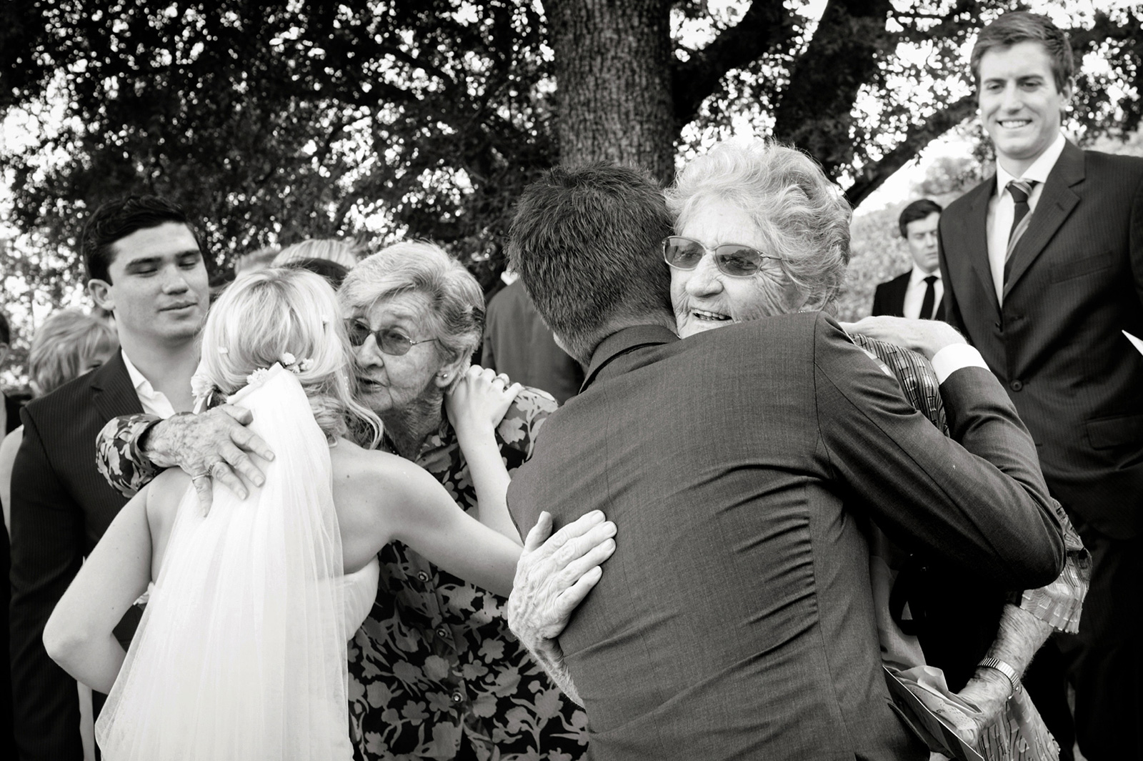 Bride and Groom with grannies