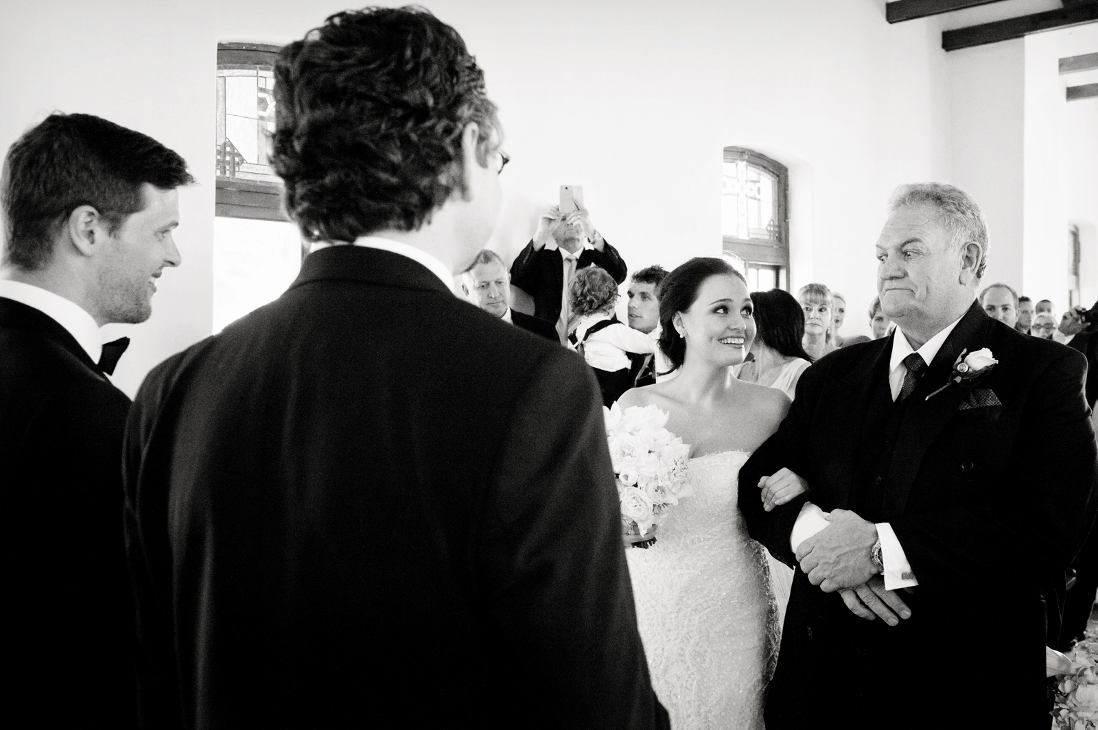 Bride with excited father
