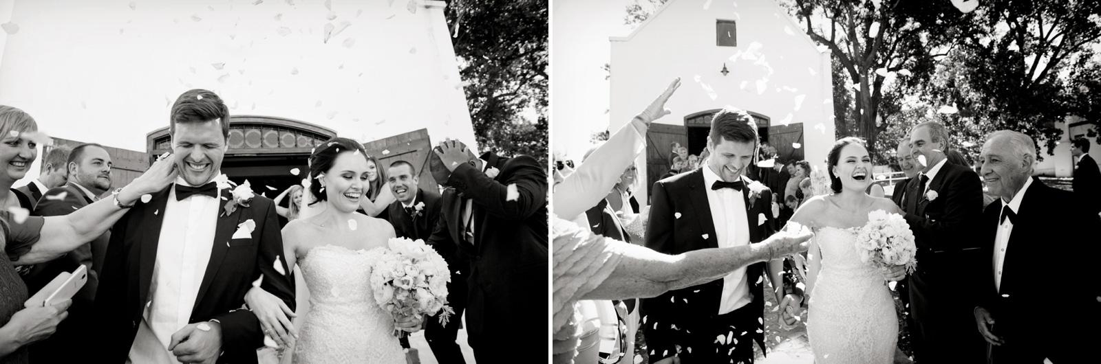 Bride and Groom in petals