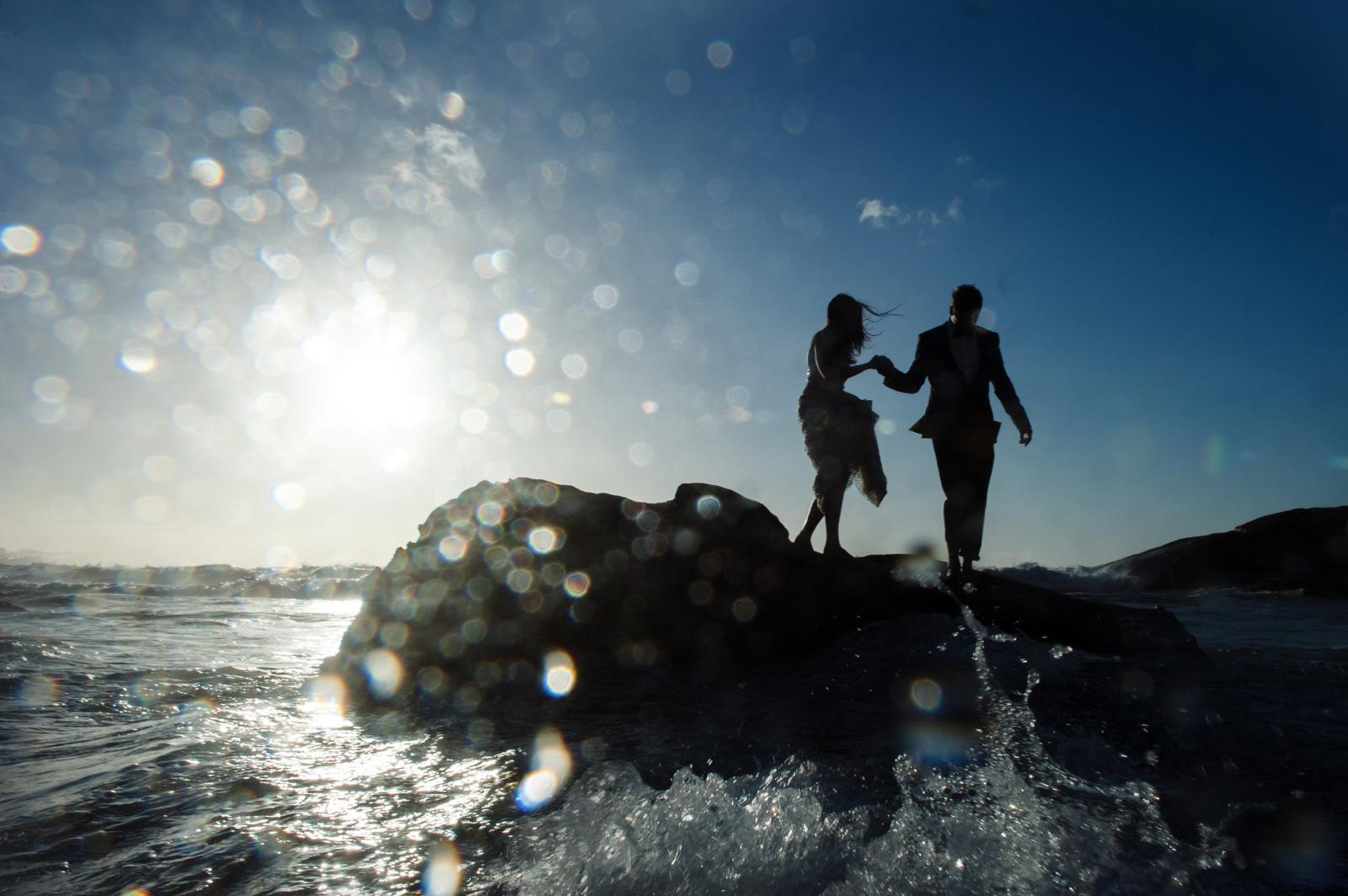 Bride and Groom in the ocean