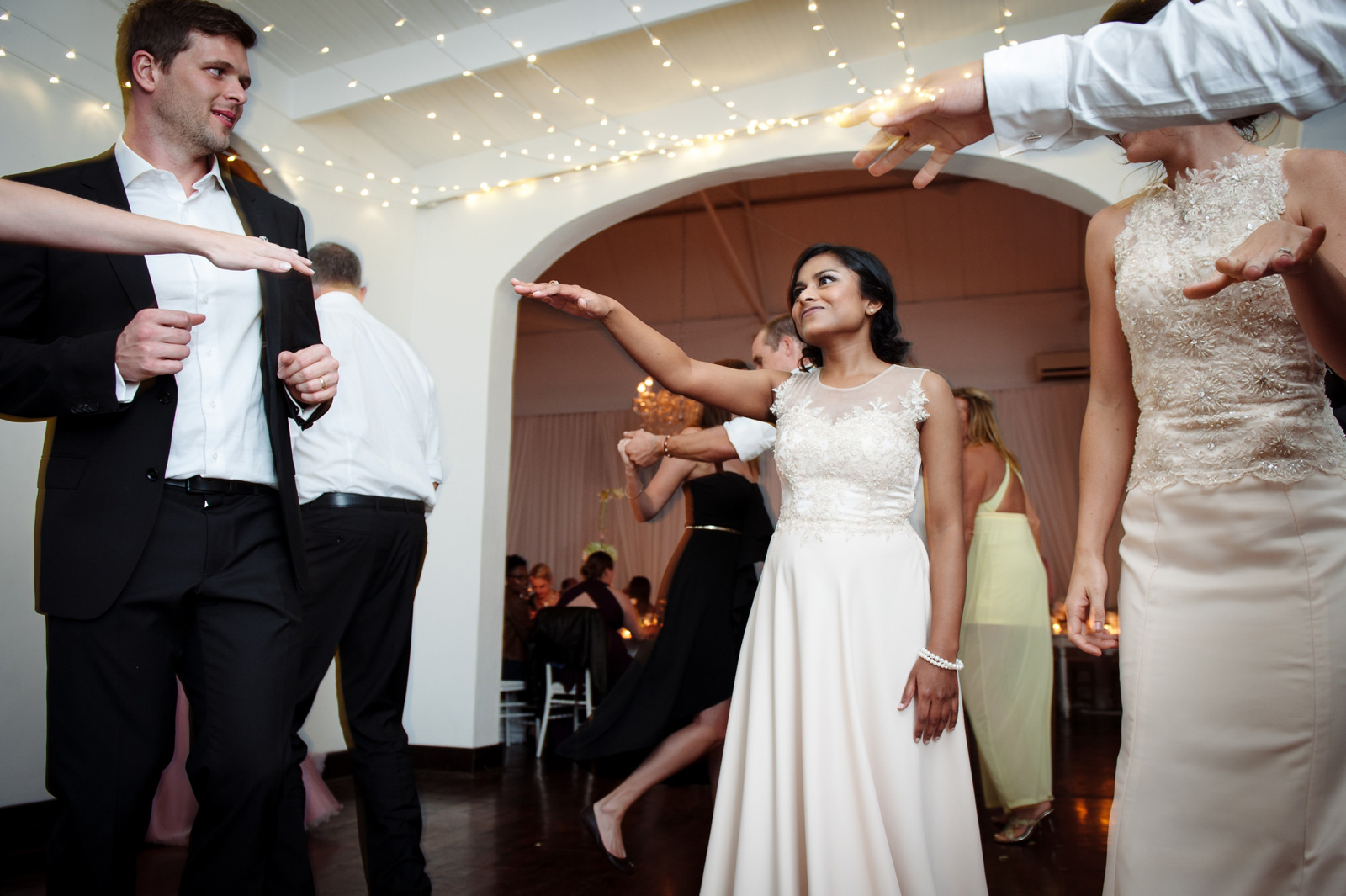 Bridal party on dance floor