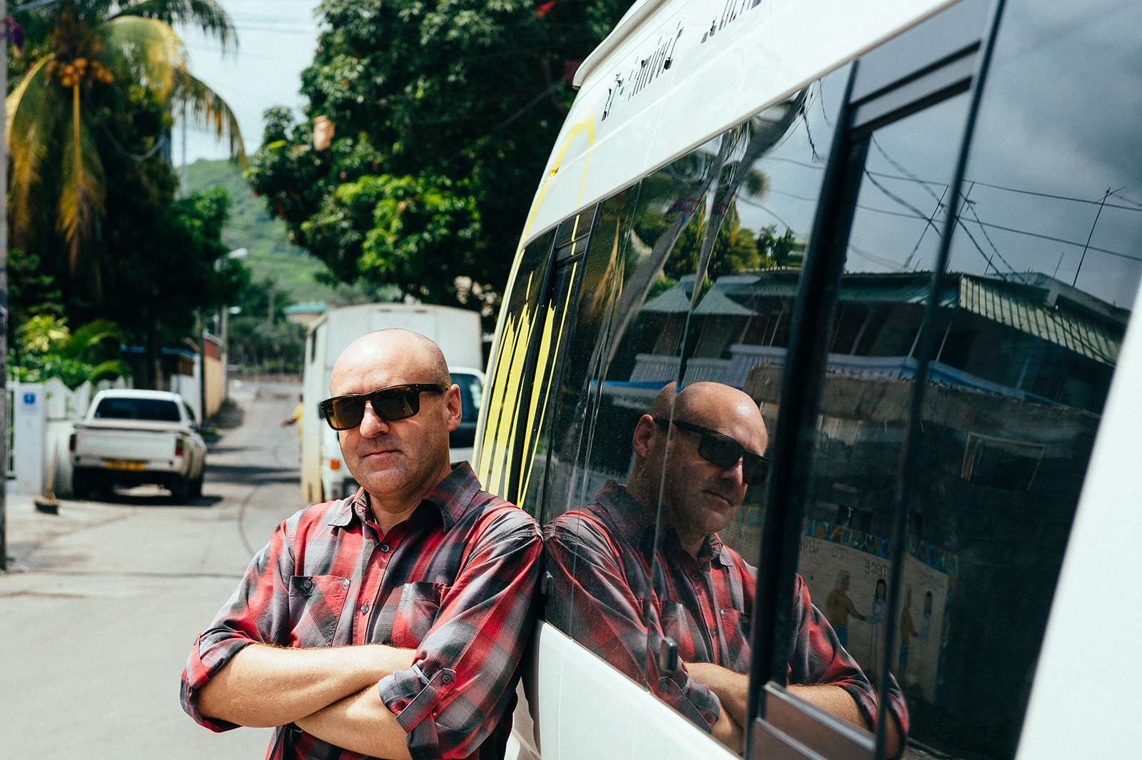 Man by bus