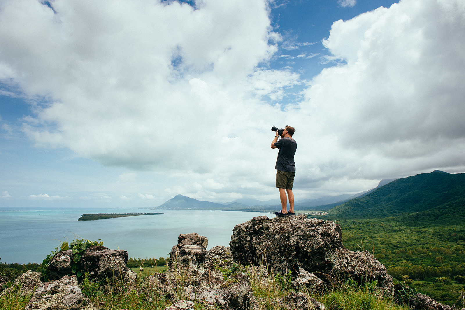 Photographer on location in Mauritius