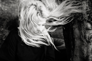 girl with windy hair