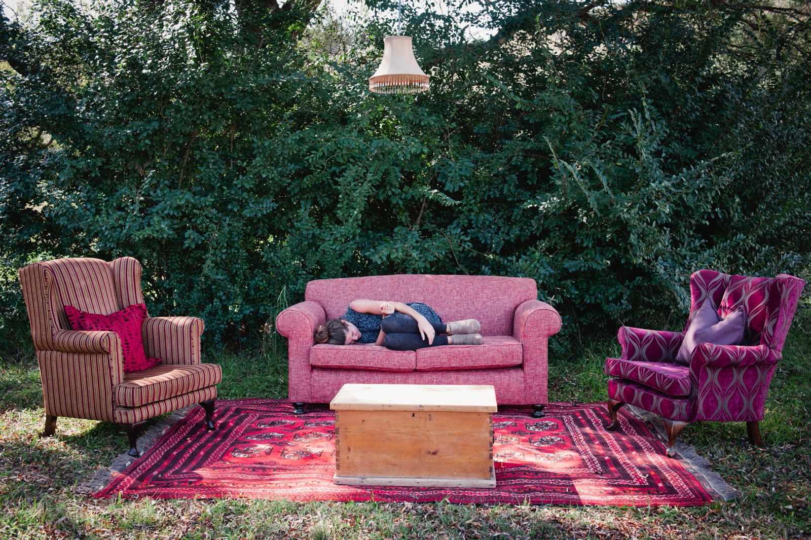 Burn out, girl sleeping on couch