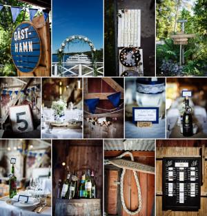 Nautical wine wedding decor