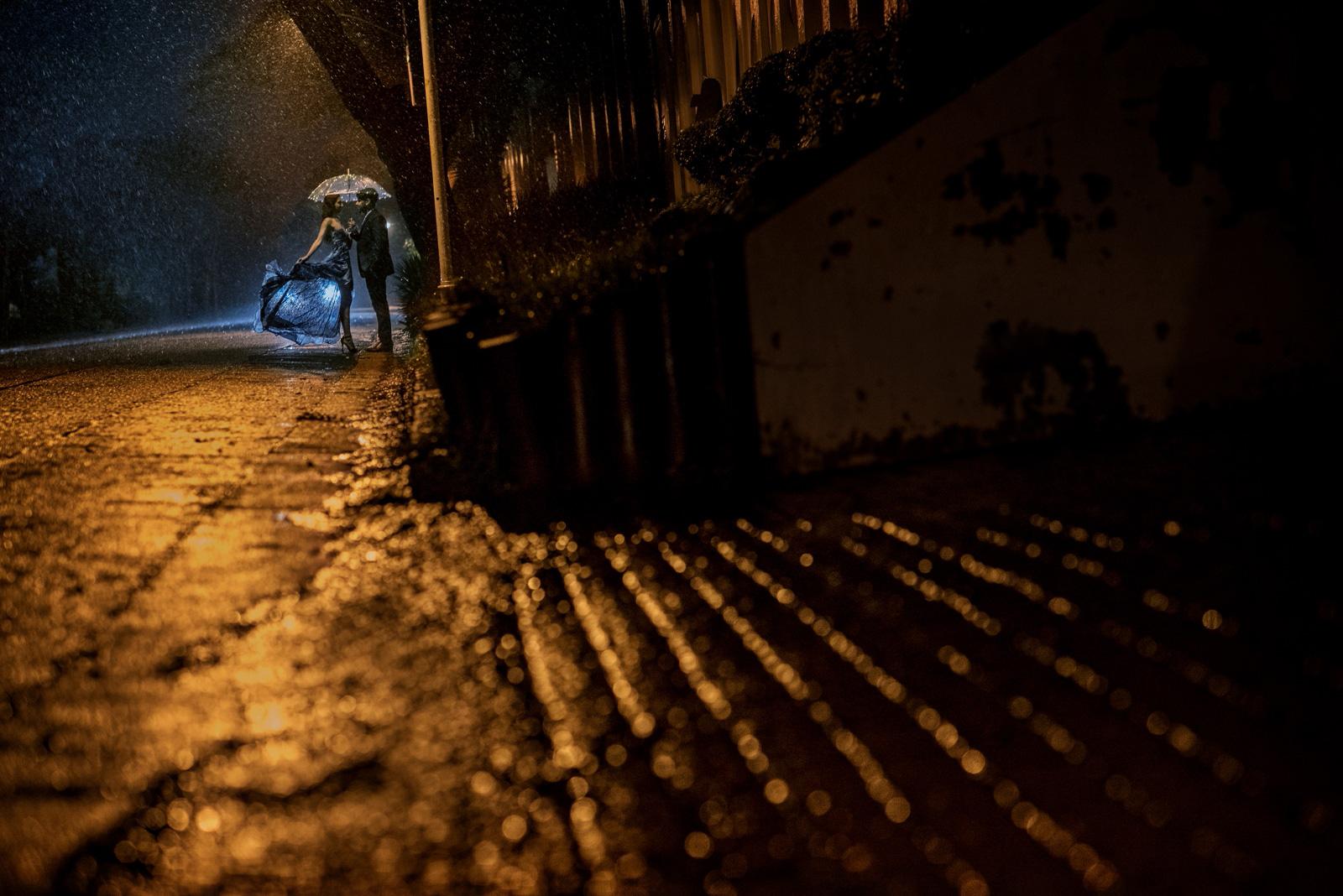 Rainy engagement shoot at night