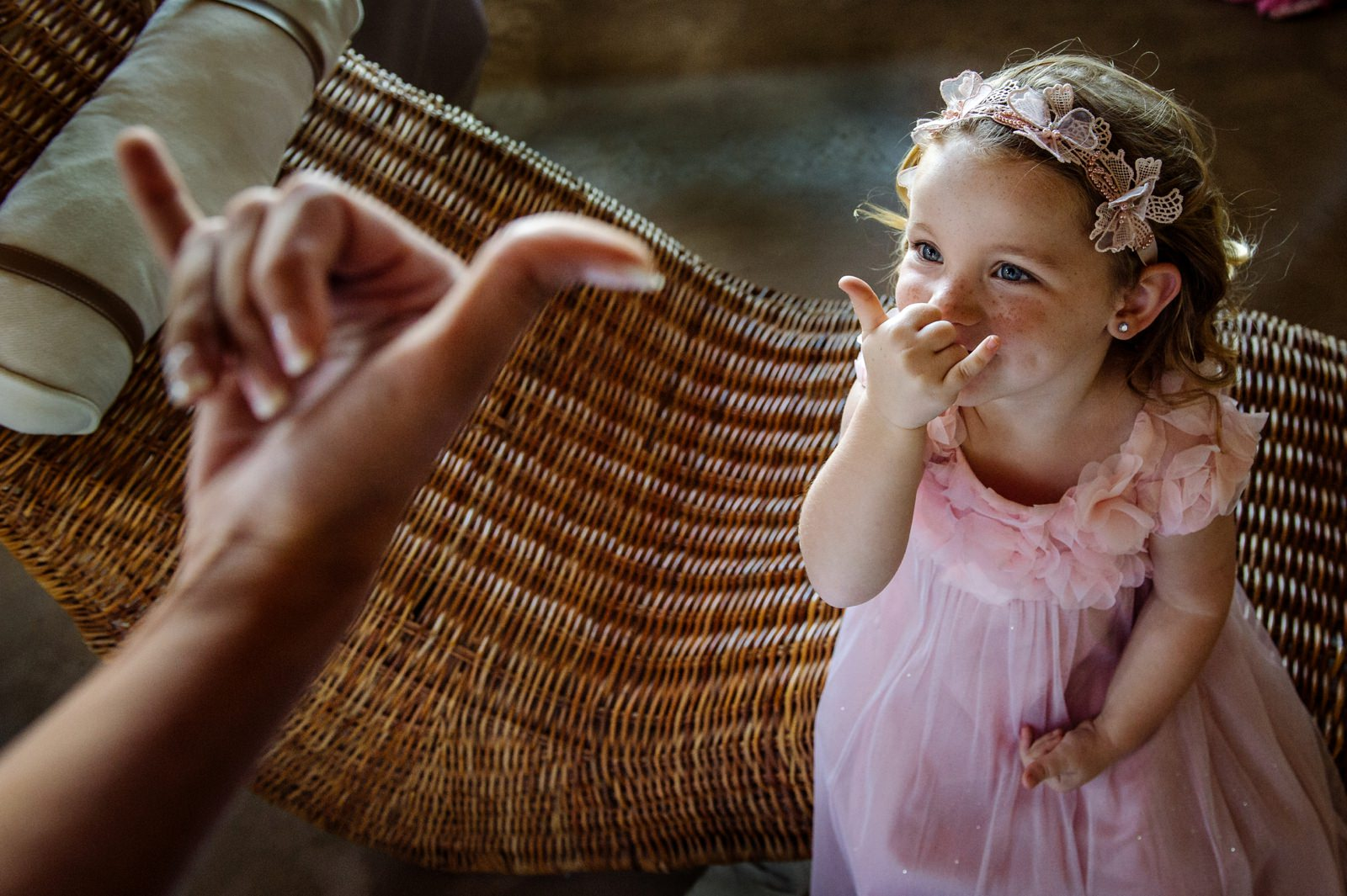 Cute wedding documentary photography with flower girl