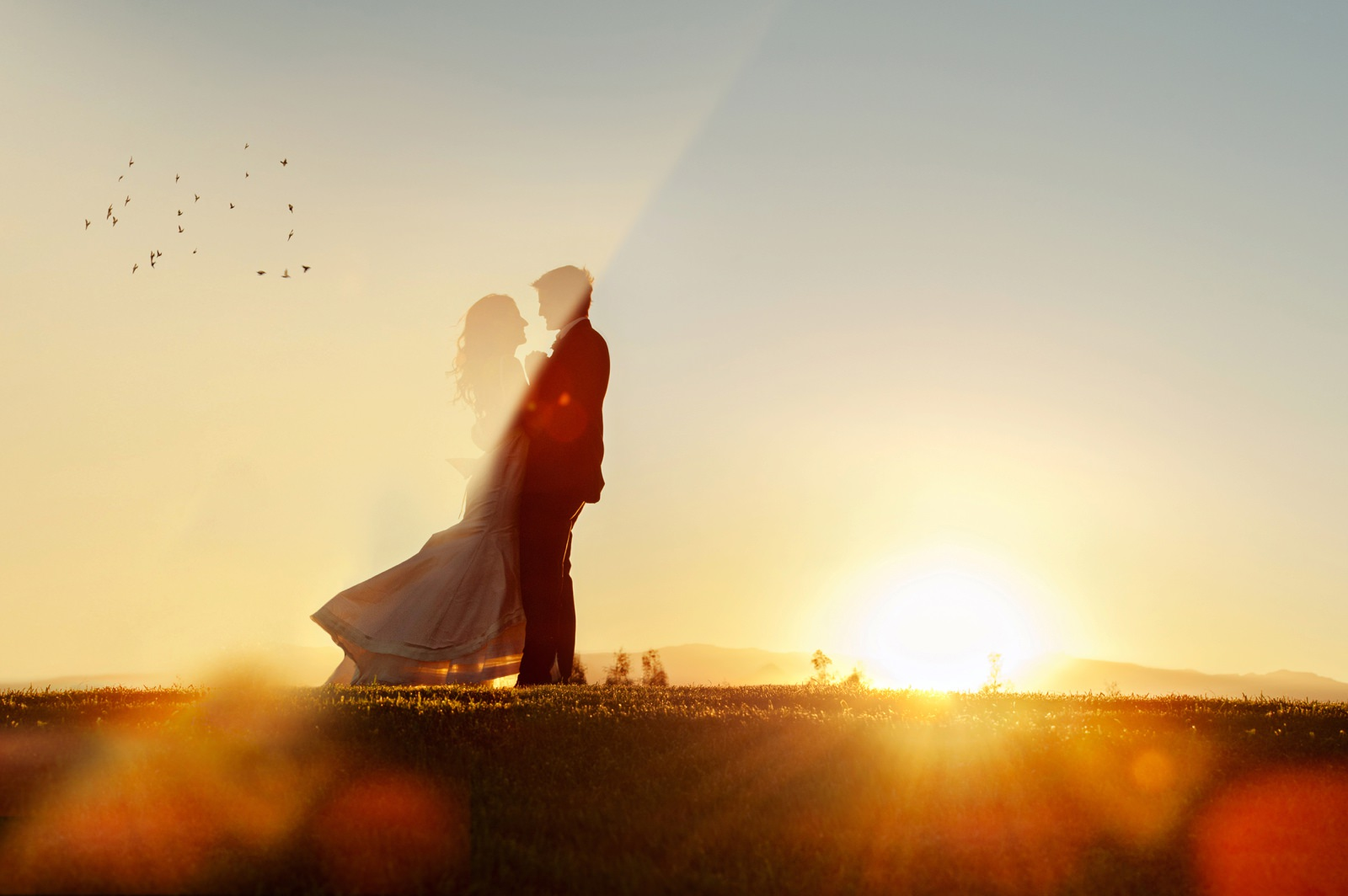 Sunset couple shoot at Netherwood farm.