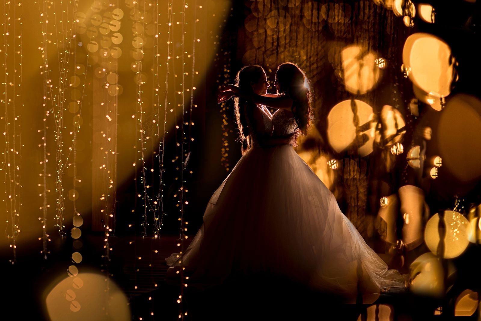 Two ladies get married in princess dresses