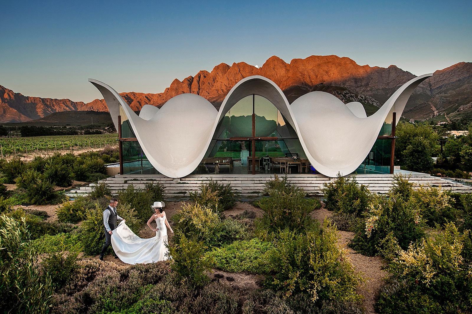 Creative couple shoot at unique wedding venue, Bosjes. Cape Town. Show by top South African wedding photographer Jacki Bruniquel.