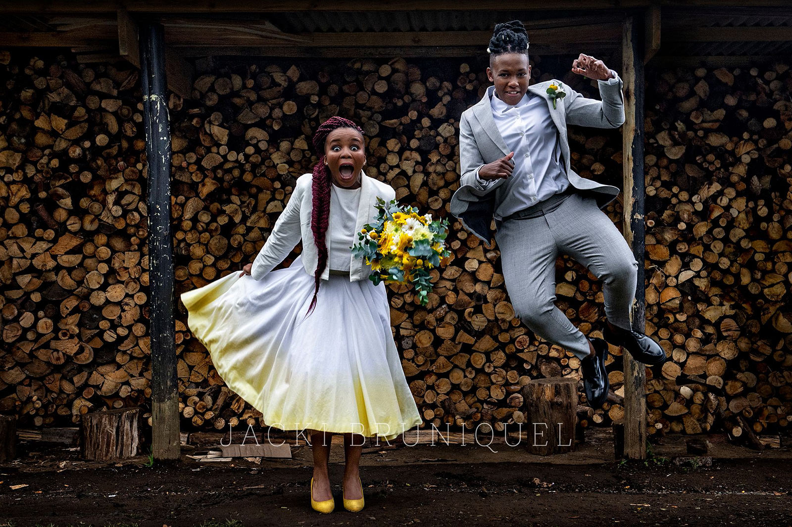 Creative couple portrait of brides at Brahman Hills, photographed by top South African wedding and documentary photographer, Jacki Bruniquel.